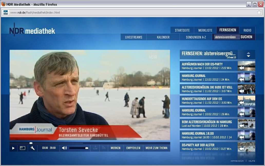 NDR Hamburg Journal Spezial Eröffnung Torsten Sevecke 100212 - Großveranstaltung